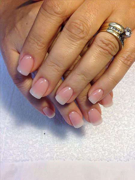 Short Natural Color Nails, Natural Acrylic Nail Manicure