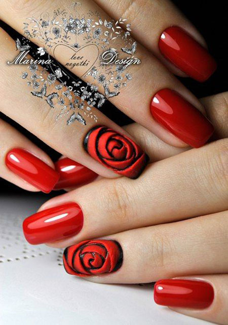 Nails Nail Rose Red