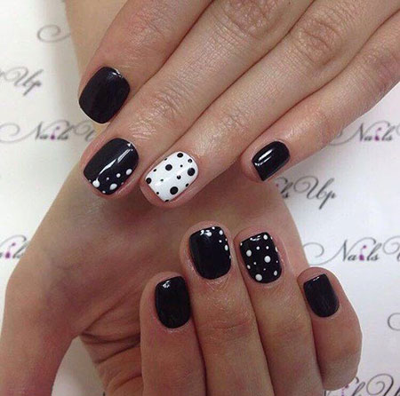 Nail White Black Manicure