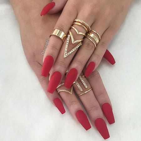 Nails Red Matte Coffin