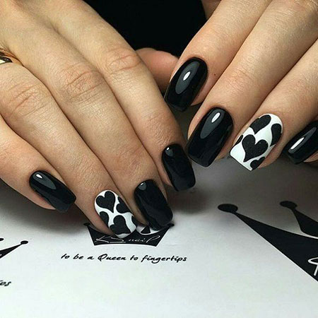 Black Heart Nail Art, Nail Black Design Nails