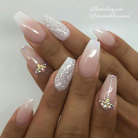 Nude and Silver Glitter Nails, Nails Nail Simple Wedding