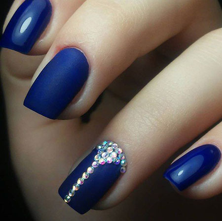 Blue Rhinestone Nail Design, Nail Nails Blue Design