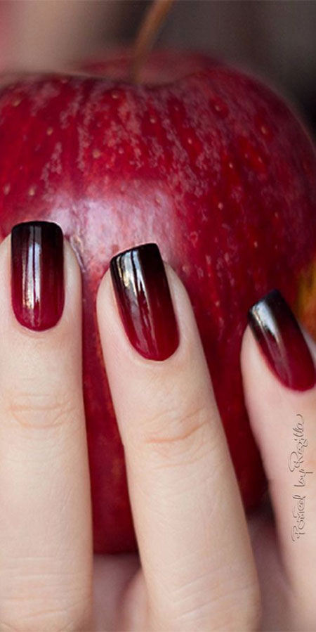 Classy Red Black Ombre Nails, Polish Nail Nails Ombre