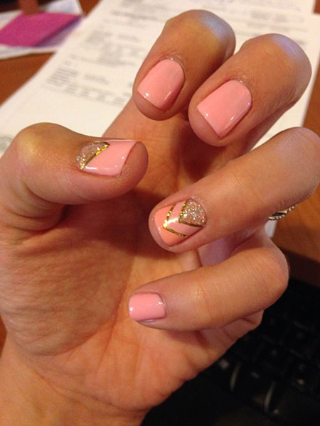 Pretty Pink Summer Nail Art, Nail Shellac Nails Manicure