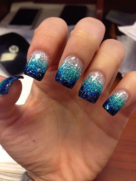 Cute Blue Glitter Nails, Glitter Nail Polish Acrylic