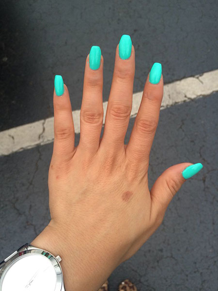 Teal Nail Design, Nail Teal Coffin Shaped