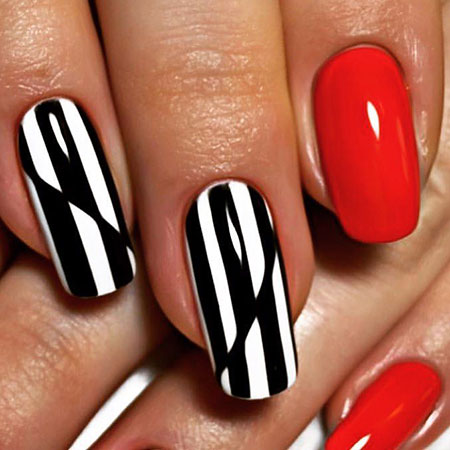 Cool Red Black and White Nails, Nail Art Red White