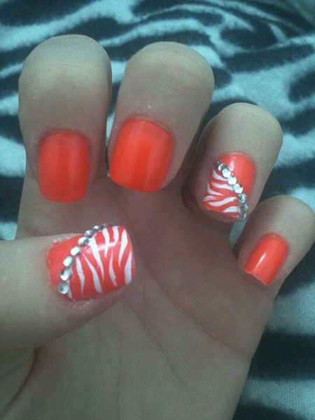 Nail Nails Rhinestone Zebra