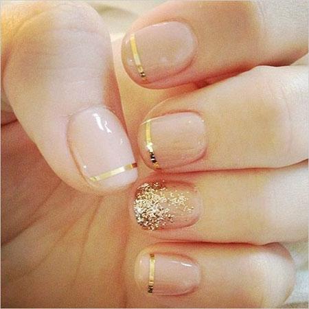 Simple Golden Nail Art Design, Nail Gold Wedding Nails
