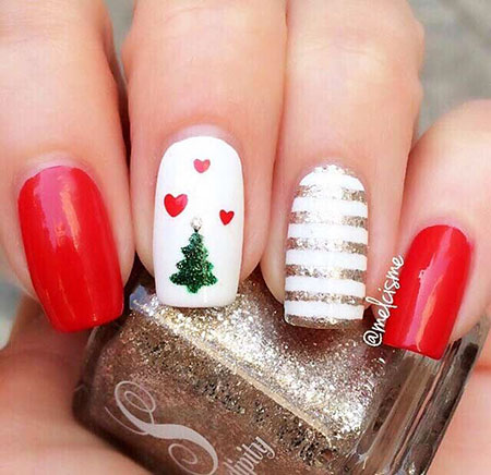 Cute and Simple Nail Art Design, Christmas Cute Easy Ideas