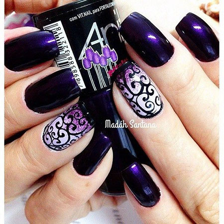 Dark Purple Nail Design, Dark Purple Color Colors