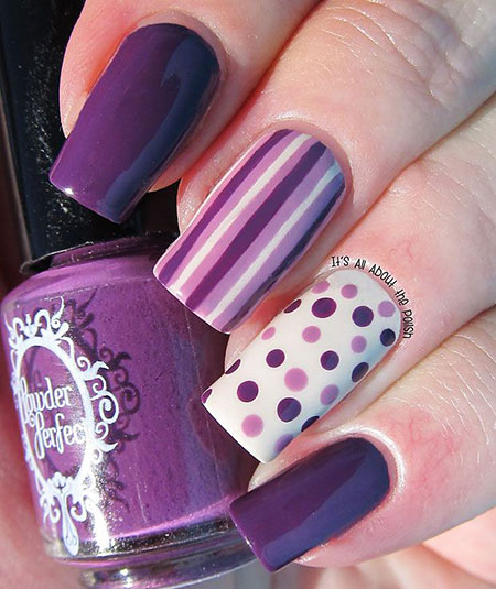 Purple Manicure Amazing Dots