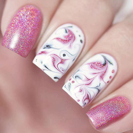 Pink Abstract Manicure Stamping