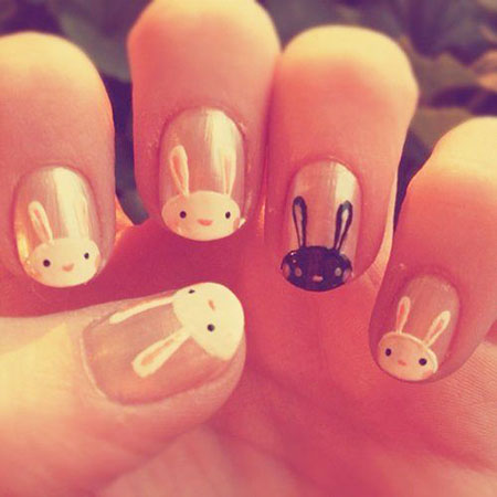 Bunny Easter Manicure Cat