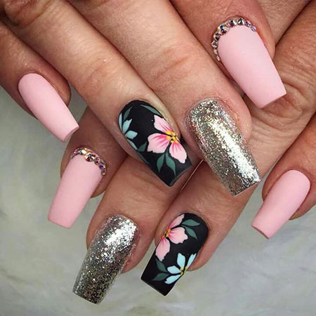Pink Silver Ongles Manicure