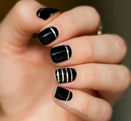 Tape Striping Black Manicure