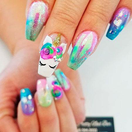 Bright Polish Rainbow Unicorn