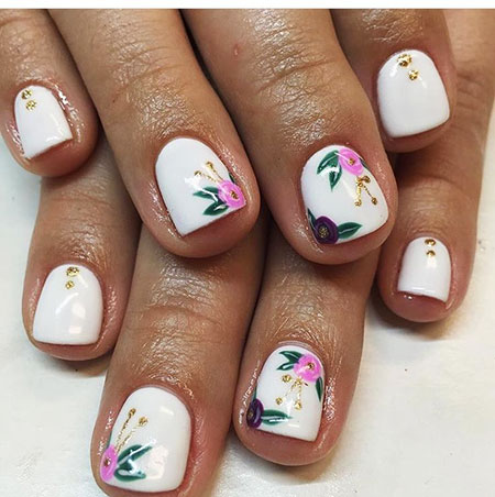 Short Easy Nails, Manicure Pink Decoradas Floweral