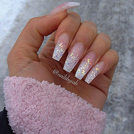 Glitter Ombre Acrylic Nail Art, Long Ombre Glitter Acrylic - 25 Long Nail Designs Best Nail Art Designs 2018