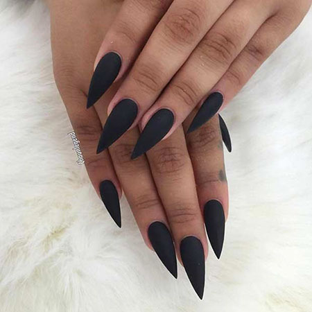 Black Stiletto Nails, Matte Black Stiletto But