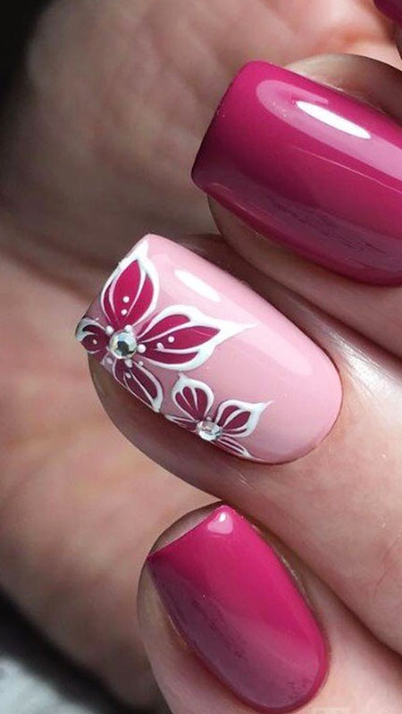 Floral Short Nails, Manicure Rose Trend Style