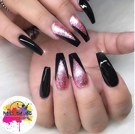 Coffin Black Glitter Rose
