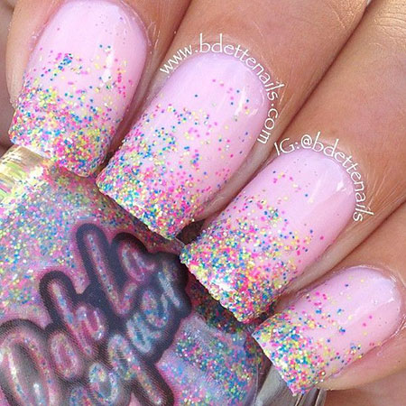 Polish Manicure Glitter Pink