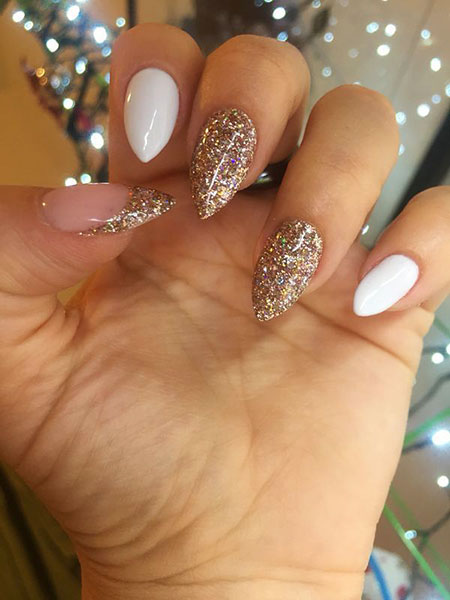 Gel Glitter Stiletto Almond