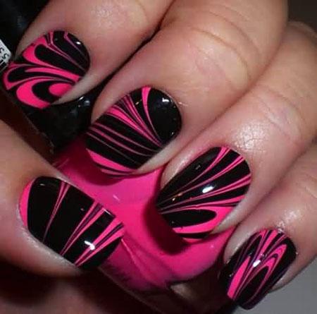 Black and Pink Nail Art, Black Ideas Orange Water