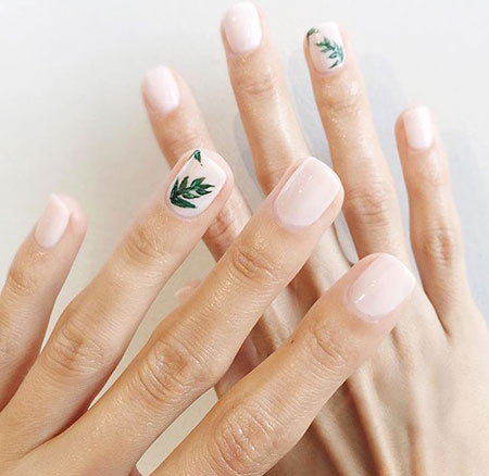 Minimalist Floral Nails, Manicure Temporary Pink Floweral