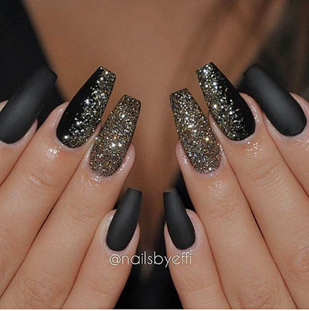 Prom Black and Gold Nail Design, Gold Black Coffin Glitter