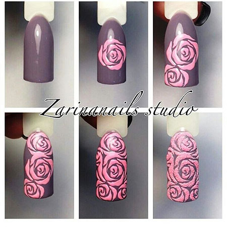 Amazing Nail Art, Manicure Flower Rose University