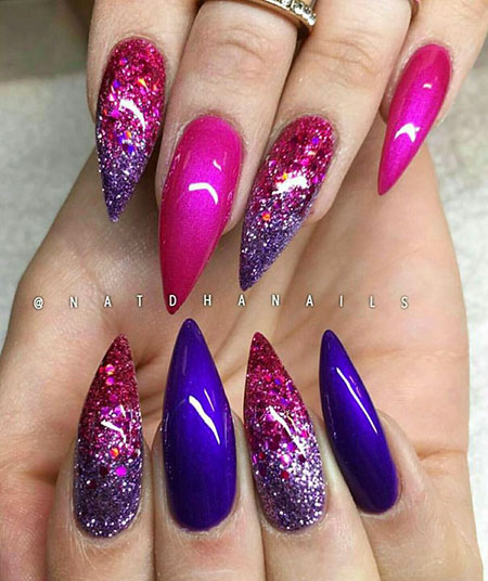 Colorful Nail Design, Stiletto Glitter Acrylic
