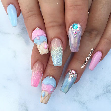 3D Colorful Nail Designs 2018, Summer Beautiful Wedding Ongles