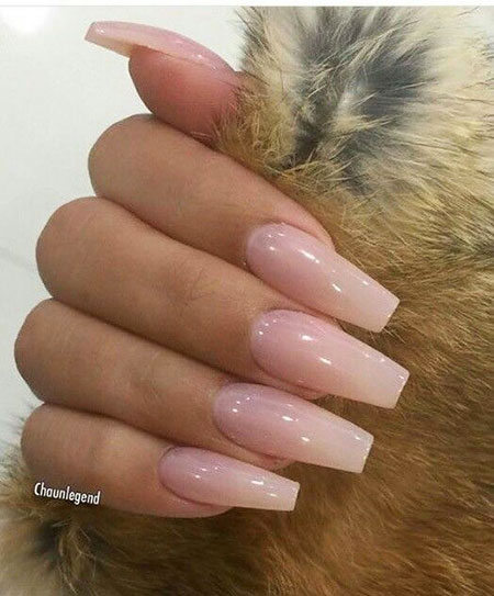 Natural Ombre Color Nails, Coffin Acrylic Nägel Tırnak