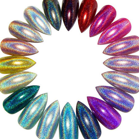 Holographic Nail Colors, Holographic Flatback Acrylic Stiletto