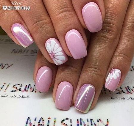 Metallic Pink Nails, Manicure Spring Metallic