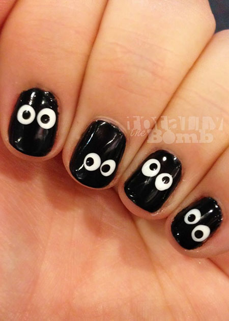 Black and White Halloween Nail Design, Halloween Cute Toe Manicure