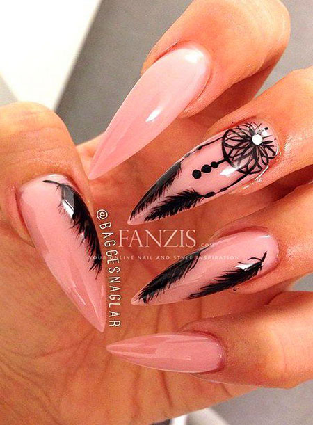 Nude Long Nail Design, Long Feather Nude Manicure