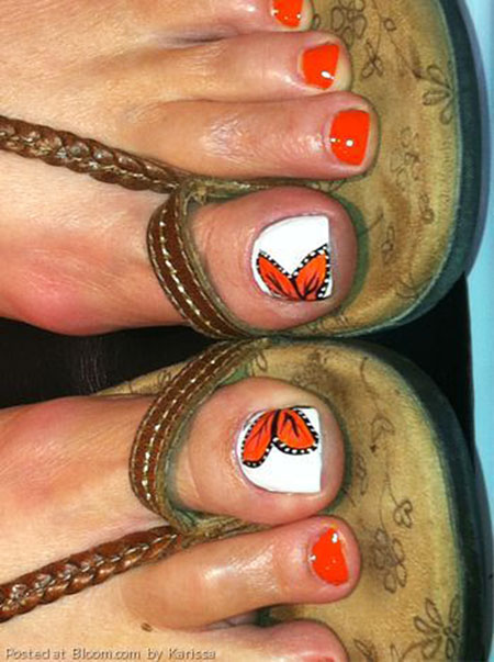 Orange Toe Nail Art, Toe Toes Cute Orange