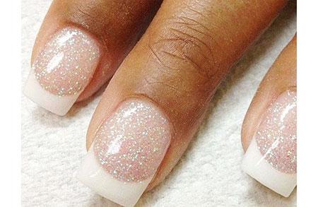 French Manicure Skin Glitter