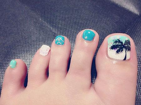 Palm Tree Toe Nail Design, Toe Tree Toes Summer