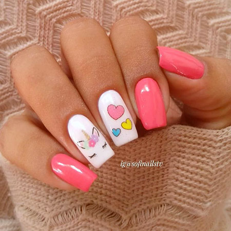 Manicure Pink White Summer