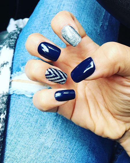 Blue Navy Manicure Glitter