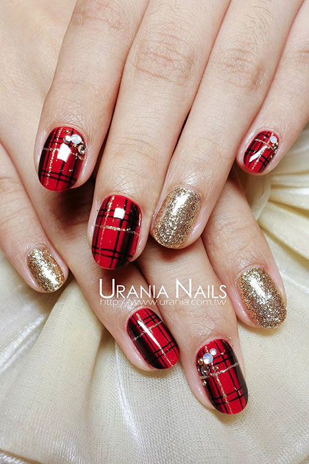 Red Gold Black Glitter