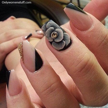 Cool 3D Nail Design, Manicure Black Rings Foil