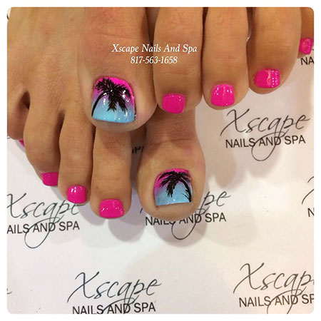 Cute Colored Palm Tree Nails, Toe Hot Pink Pedicure