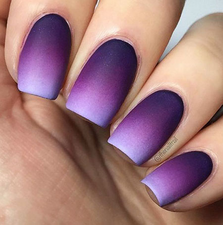 Ombre Purple Nails, Black Purple Character Matte