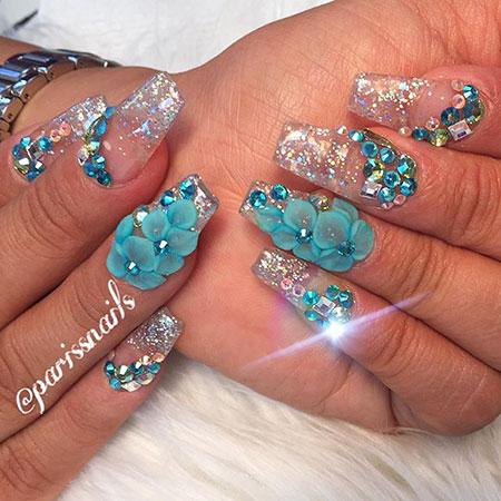 3D Flower Crystal Glitter
